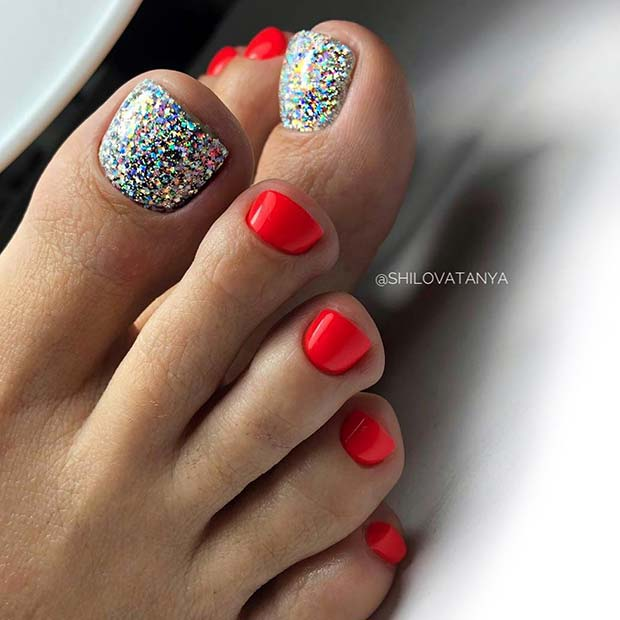Silver Shimmer Red Toe Nails