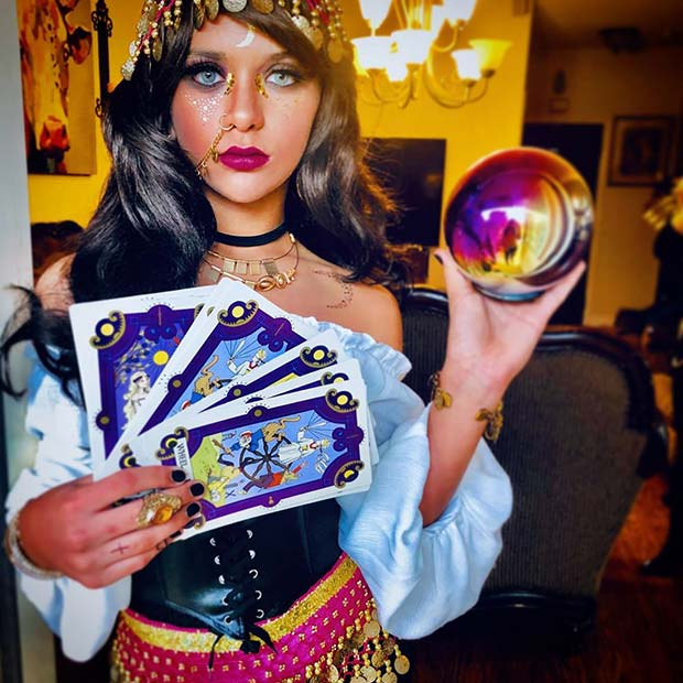 Gypsy with Tarot and a Crystal Ball
