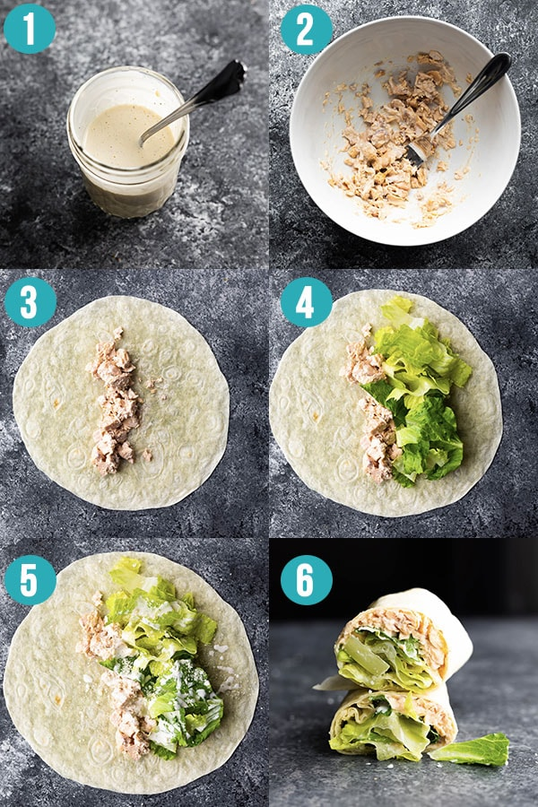 step by step directions for how to make salmon caesar wraps
