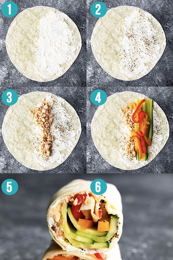 step by step directions to make everything bagel wraps