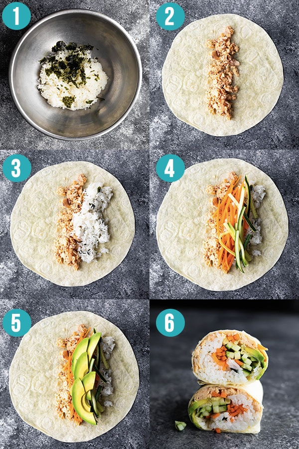 step by step directions showing how to make sushi wraps