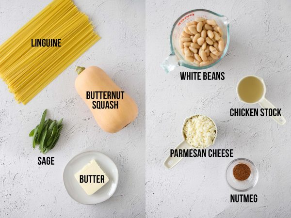 overhead view of ingredients required to make butternut squash noodles with sage and brown butter