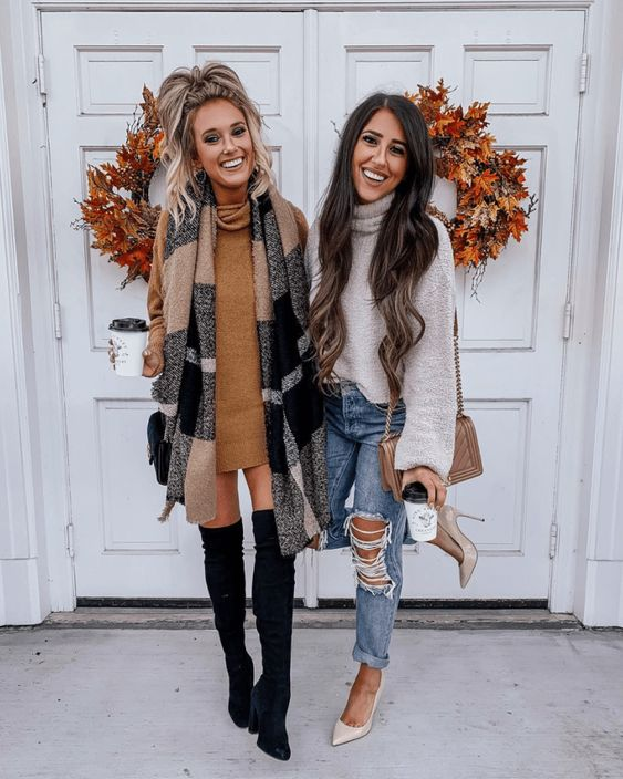 Over the knee boots with sweater dress