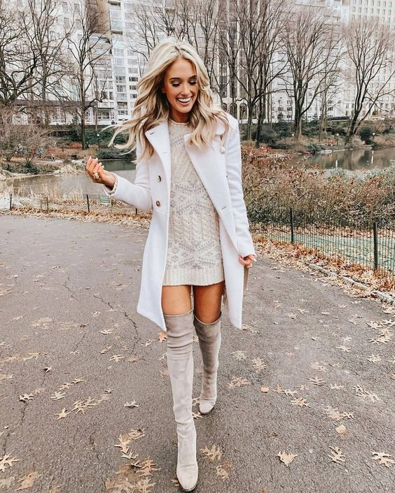 Cute Thanksgiving outfits with over the knee boots, cream sweater dress and white coat by Champagne And Chanel