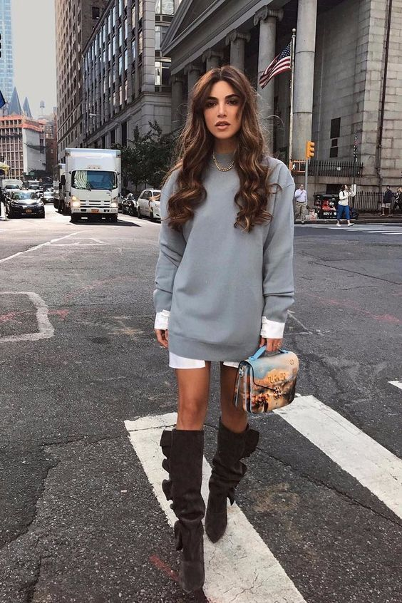 Negin Mirsalehi Outfits with gray sweater dress