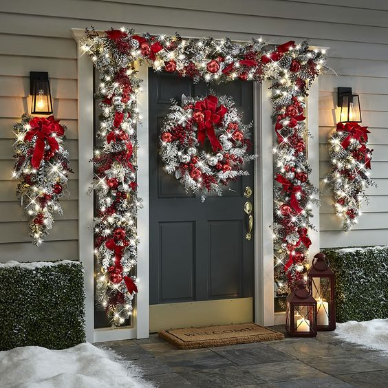 DIY red and white Christmas outdoor decorations for front door and porch
