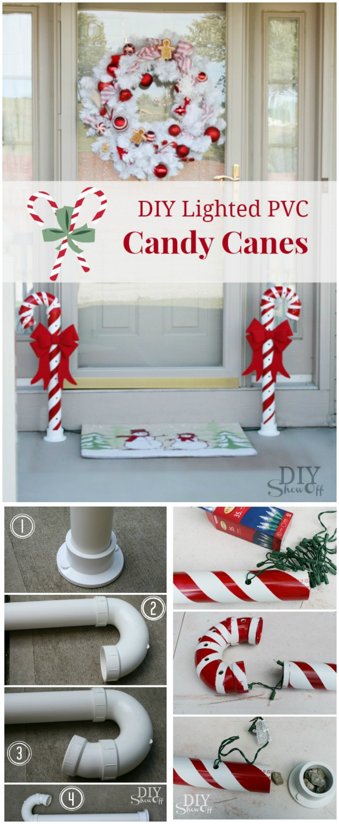 DIY Lighted PVC Candy Canes