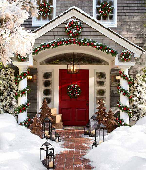 Christmas decorations for outdoors with front porch and wreaths
