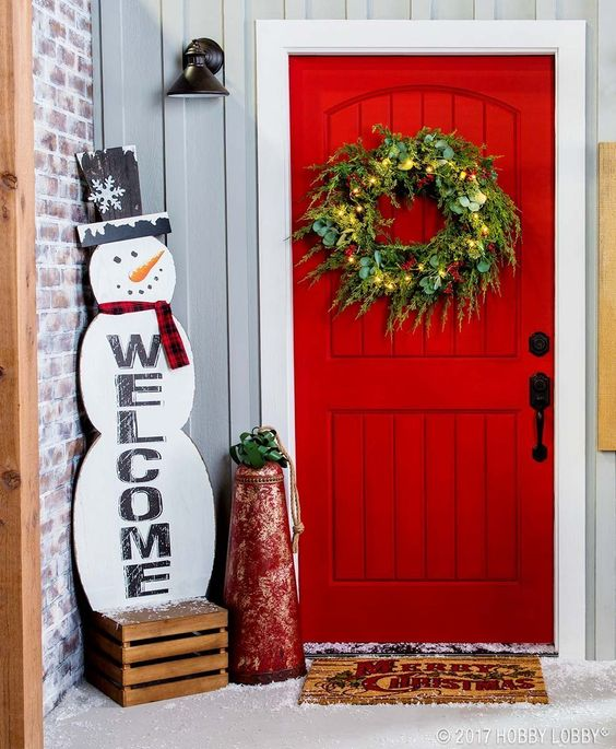 Snowman outdoor decorations for front porch with rustic wreath