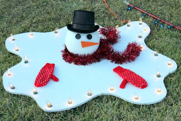 Melted Snowman Outdoor Decoration