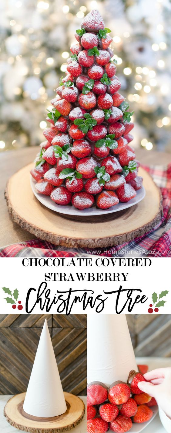 Chocolate Covered Strawberry Christmas Tree Idea