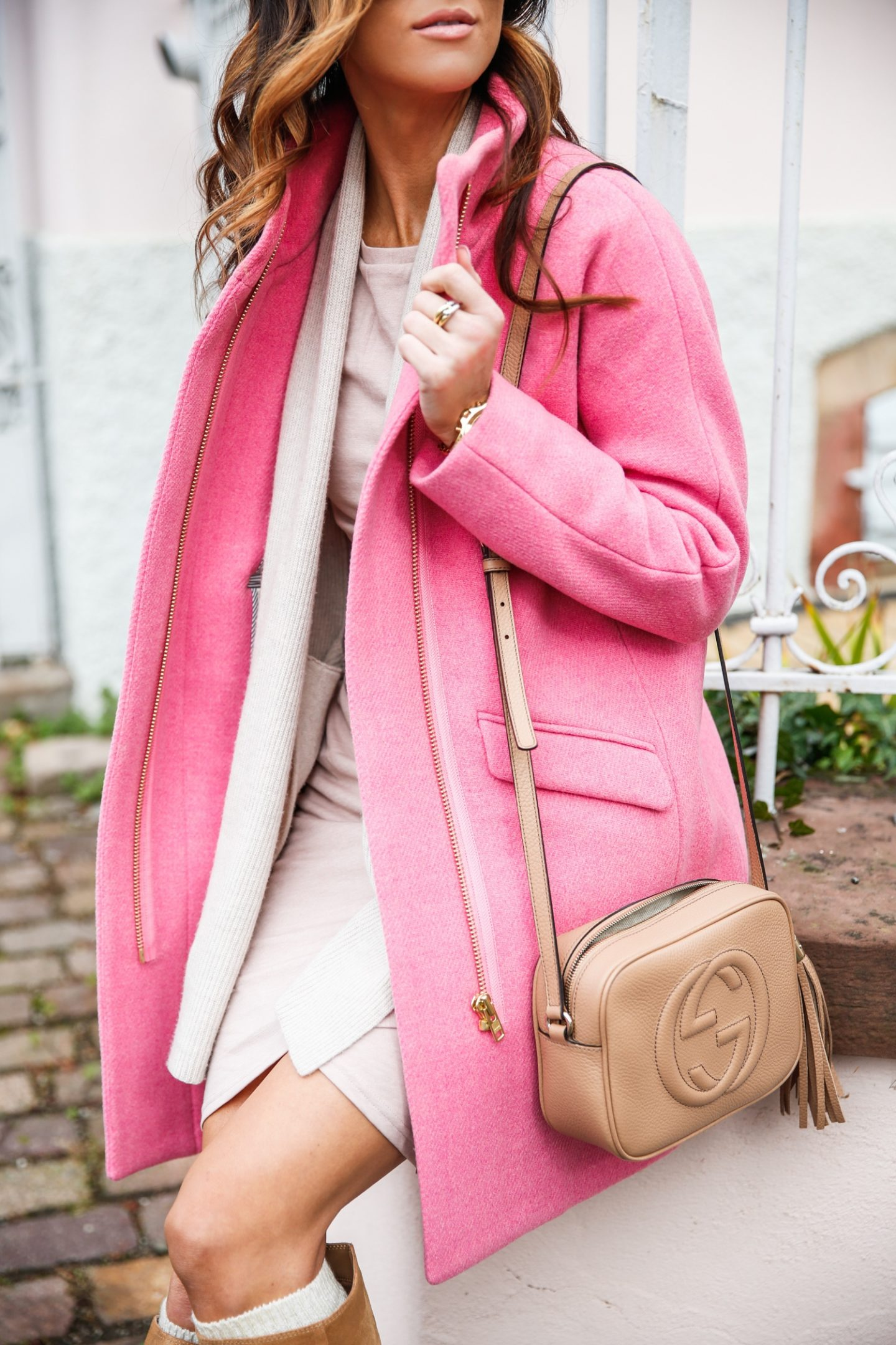 Best pink coat outfits for winter