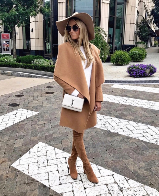 Best camel coat outfits for fall - trendy fall outfits with over the knee boots and fedora hat