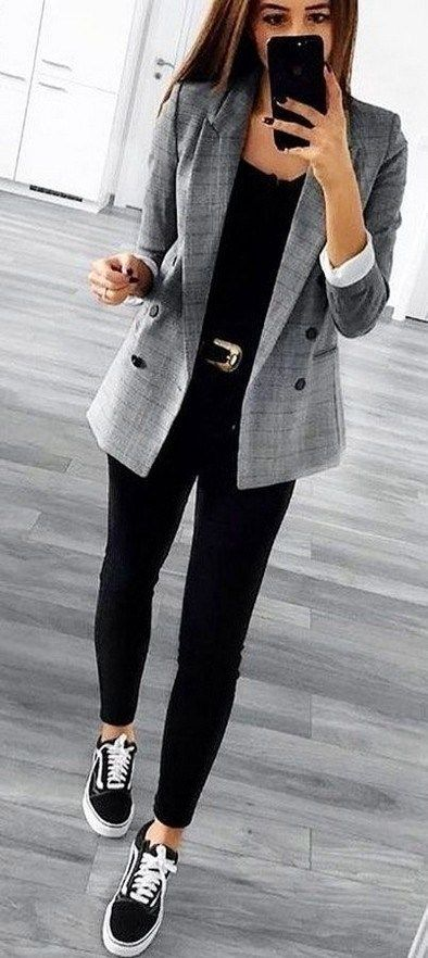 Chic business casual outfits for women, work outfits with vans for women and grey blazer outfits