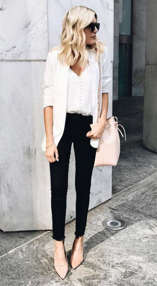 Best business casual outfits for work with black jeans and white blazer