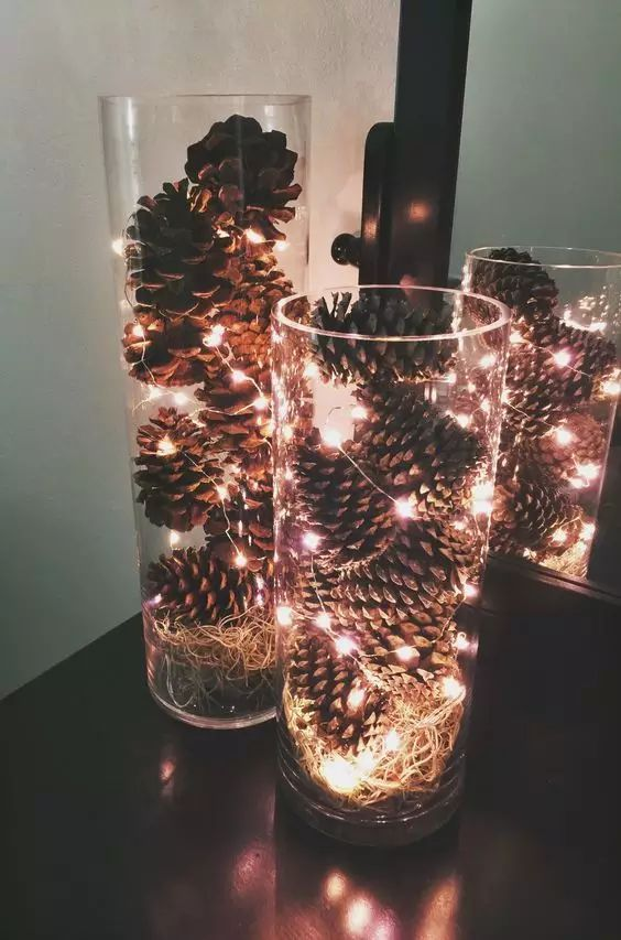 Easy DIY Christmas crafts for adults: Pinecone Hurricanes