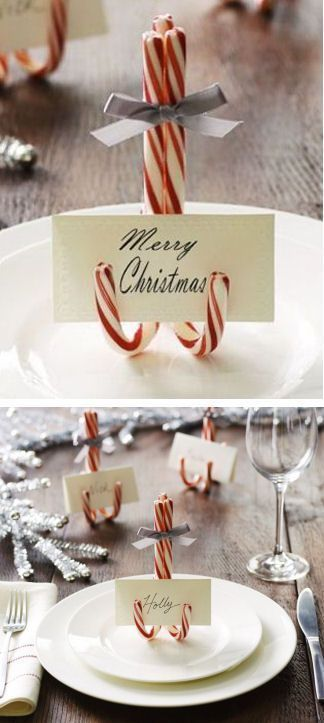 Easy DIY Christmas crafts for adults: Candy Cane Table Decorations
