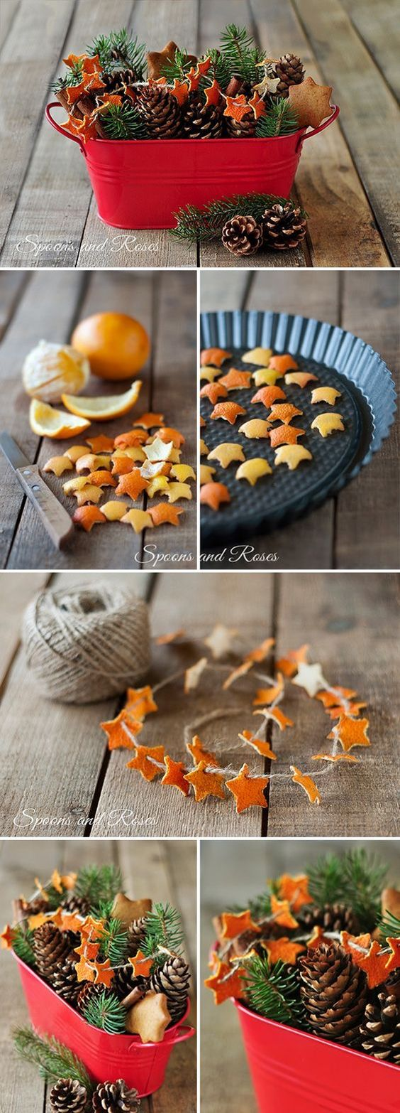 Easy DIY Christmas crafts for adults: Cute Tangerine Peel Decorations