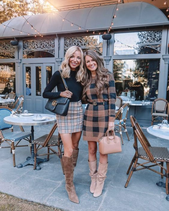 Cute Thanksgiving outfits with Burberry plaid skirt and tartan dress